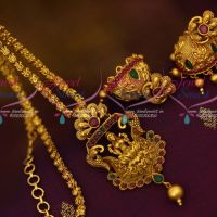 Antique Temple Pendant Jhumka Earrings Matte Gold Plated Chain Latest Designs Online