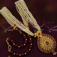Multi Strand Hand Beaded Small Pearl Mala Maroon Colour Gold Plated Pendant Online
