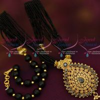 Black Colour Multi Strand Hand Beaded Small Mala Matching Pendant Online