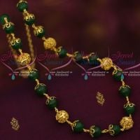 Green Glass Beads Copper Gold Plated  Beaded Fancy Mala Casual Wear Jewellery Designs Online