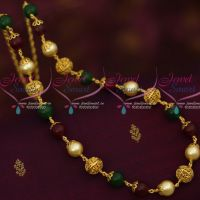 Marron Green Glass Beads Copper Gold Plated  Beaded Fancy Mala Casual Wear Jewellery Designs Online