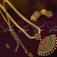 South Indian Jewellery Attiga Design Flexible Chain Pendant Jhumka Multi Colour Stones Gold Plated Collections