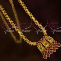 AD Ruby Emerald Traditional Chain Pendant Low Price Gold Plated South Indian Jewellery Online