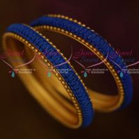 Blue Colour Thread Copper Metal Reddish Antique Base Bangle Worked Low Price Jewellery Online