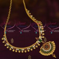 Kerala Style Bell Design South Indian Jewellery Short Necklace AD Red Green Stones Collections