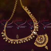 Kerala Style Bell Design South Indian Jewellery Short Necklace AD Red White Stones Collections