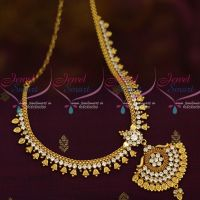 Kerala Style Bell Design South Indian Jewellery Short Necklace AD White Stones Collections