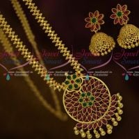 Kemp Attiga Gold Plated Jewellery Design Flexible Chain Pendant Jhumka Collections Shop Online