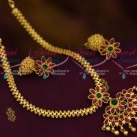 Traditional Jewellery Attiga Design Flexible Chain Pendant Jhumka Kemp Stones Gold Plated Collections