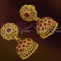 Round Tops Ruby Stones Jhumka Screwback South Indian Jewellery Gold Plated Collections Online