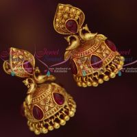 Kemp Red Peacock Design Gheru Reddish Plated Jhumka Latest South Indian Jewellery Online