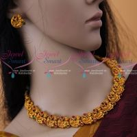 Lord Krishna Antique Matte Reddish Plated Short Necklace Temple Jewellery Collections Online