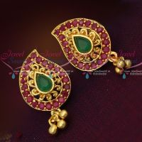 Mango Shape Ruby Emerald Screwback Ear Studs South Indian Jewellery Shop Online