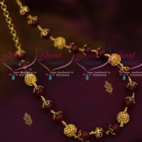 Maroon Glass Beads Copper Gold Plated  Beaded Fancy Mala Casual Wear Jewellery Designs Online