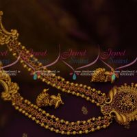 Matte Gold Traditional Design Nakshi Red Stone 3 Line Beads Stone Haram Jewellery Collections Online