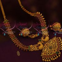 Peacock Pendant Medium Haram Fashion Jewellery Red Green Stones Matte Gold Collections Online