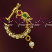 Ruby Green Stones Peacock Design Nose Pins Non Piercing Type Latest Fashion Jewellery Screw Press