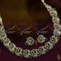 Lord Krishna Antique Silver Plated Short Necklace Temple Jewellery Collections Online