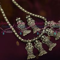 Antique Blackish Silver Plated Beaded Style Necklace Temple Jewellery Collections Online