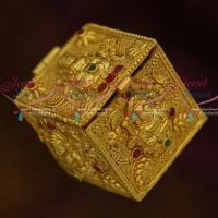 Square Nagas Gold Temple Kunguma Chimil Sindoor Kum Kum Box Gold Plated Intricate Design Auspicious