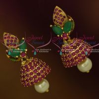 Small Size AD Jhumka Ruby Green Stones Fashion Jewellery Shop Online