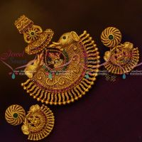 Gajalakshmi Design Antique Temple Jewellery Nagas Ruby Emerald Pendant Sets Shop Online
