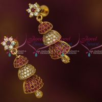 Ruby White Screwback 3 Step Small Size Half Jhumka South Indian Jewellery Shop Online