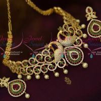 AD Stones Dazzling Bridal Jewellery Peacock Red Green White Choker Set Shop Online
