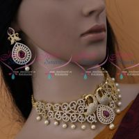 AD Stones Dazzling Bridal Jewellery Peacock Red White Choker Set Shop Online