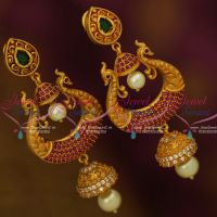 AD Peacock Ruby Emerald Antique Fusion Jewellery Earrings Latest Designs Shop Online
