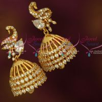 Stylish AD Jewellery Peacock Screwback Jhumka Earrings South Indian Fashion Shop Online