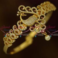 AD Bangle Type Vanki Ruby White Stones Latest Bridal Jewellery Collections Online