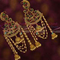 Antique Multi Colour Stones Pearl Chain Drops Jhumka Stylish Jewellery Shop Online