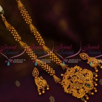 Beads Chain Nakshi Ruby Emerald Pendant Latest Fashion Jewellery Collections Matte Finish Online
