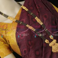 32 Inches 5 Line Black Beads Mangalsutra One Gram Gold Latest Traditional Premium Finish Jewellery Shop Online