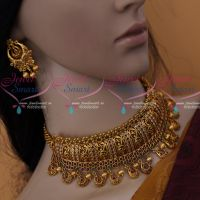 Antique Matte Finish Uncut AD Red Green White Stones Premium Finish Choker Necklace Latest Fashion Jewellery Online