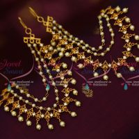 Matte Gold Finish 3 Step Pearl Ruby AD Stones Fancy Mattal Ear Chains Hair Decoration Jewellery Shop Online