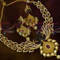 Matte Gold Enamel Blue Colour Peacock AD Kundan Jewellery Latest Stylish Imitation Shop Online
