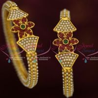 Floral Design Pearl Bangle 2 Pcs Set Antique Fashion Jewellery Latest Design Shop Online