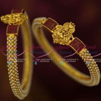 Temple God Design Pearl Bangle 2 Pcs Set Antique Fashion Jewellery Latest Design Shop Online