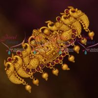 Antique Peacock Matte Gold Finish Temple Hair Clip Matching Imitation Accessory Jewellery Designs Online