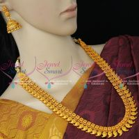 Temple Haram Laxmi God Engraved Mango Necklace Red Matte Antique Gold Jewellery Collections Online