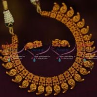 Temple Laxmi God Engraved Mango Red Stones Necklace Matte Antique Gold Jewellery Collections Online