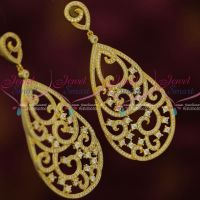 AD Stones Oval Design Drops Big Long Earrings Latest Fashion Jewellery Shop Online