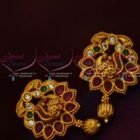 Peacock Design Ruby Emerald Matte Gold Finish Ear Studs South Indian Jewellery Shop Online