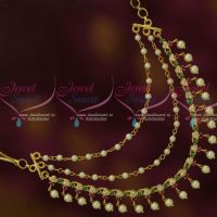 3 Step Pearl Multi Ruby Emerald Stones Fancy Mattal Ear Chains Hair Decoration Jewellery Shop Online