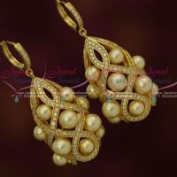 AD Stones Pearl Oval Design Drops Hook Earrings Latest Fashion Jewellery Shop Online