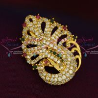 Imitation AD Stones Peacock Fashion Jewellery Saree Pins Collection Online