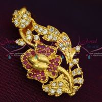 Ruby White Imitation AD Stones Floral Fashion Jewellery Saree Pins Collection Online