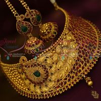 Kemp Red Green Choker Necklace Antique Broad Fashion Jewellery Set Jhumka Earrings Shop Online